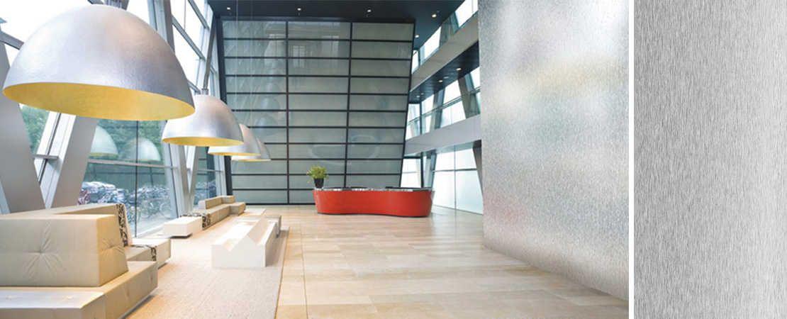 lastra in acciaio inox Dekodur in reception moderna